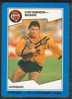 1989 Stimorol Rugby League Clint Robinson trade card; Documents and books; 1989.2131.21