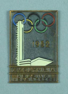 Oblong badge commemorating 1952 Helsinki Olympic Games