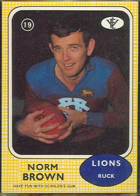 1972 Scanlens VFL Football Norm Brown trade card