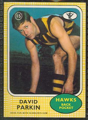 1972 Scanlens VFL Football David Parkin trade card