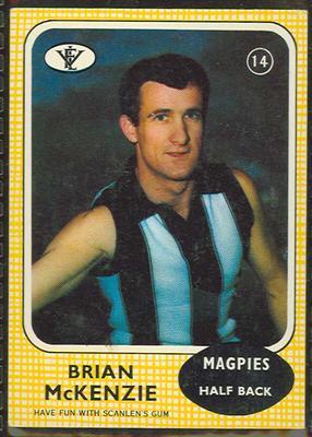 1972 Scanlens VFL Football Brian McKenzie trade card