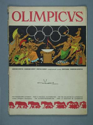 Autograph book with Walti sporting cartoons, 1960 Olympic Games