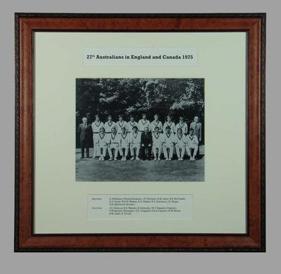 Photograph of 27th Australians in England & Canada, 1975; Photography; Framed; M15369