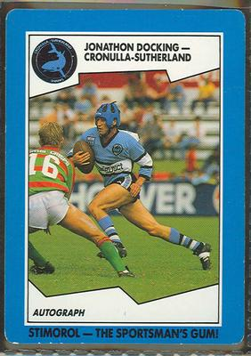 1989 Stimorol Rugby League Jonathon Docking trade card; Documents and books; 1989.2131.27