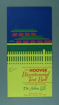 Programme for Bicentennial Test Ball, North Sydney Oval 1988