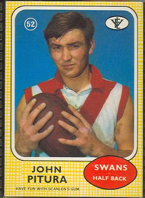 1972 Scanlens VFL Football John Pitura trade card; Documents and books; 1986.6.112