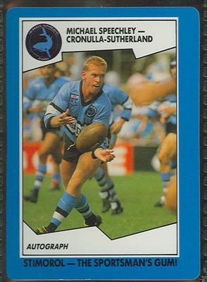 1989 Stimorol Rugby League Michael Speechley trade card