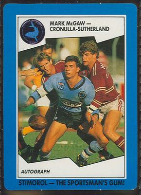 1989 Stimorol Rugby League Mark McGaw trade card; Documents and books; 1989.2131.29