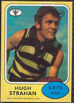 1972 Scanlens VFL Football Hugh Strahan trade card; Documents and books; 1986.6.121