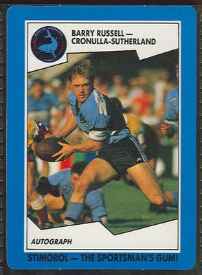 1989 Stimorol Rugby League Barry Russell trade card