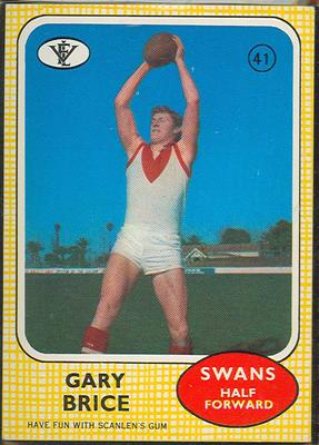 1972 Scanlens VFL Football Gary Brice trade card; Documents and books; 1986.6.122