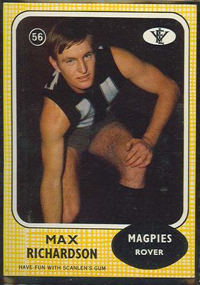 1972 Scanlens VFL Football Max Richardson trade card; Documents and books; 1986.6.125