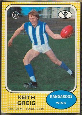 1972 Scanlens VFL Football Keith Greig trade card