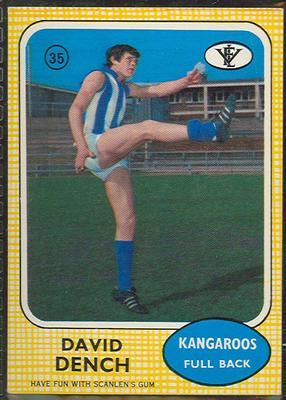 1972 Scanlens VFL Football David Dench trade card; Documents and books; 1986.6.128