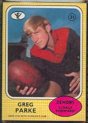 1972 Scanlens VFL Football Greg Parke trade card