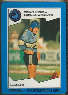 1989 Stimorol Rugby League Michael Porter trade card