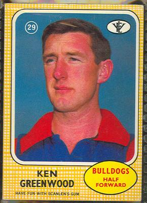 1972 Scanlens VFL Football Ken Greenwood trade card