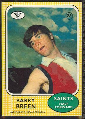 1972 Scanlens VFL Football Barry Breen trade card