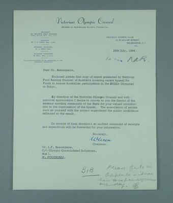 Letter accompanying report on the NSW and Victorian campaign to promote Australia's participation in the 1964 Olympic Games; Documents and books; 1989.2095.4.2