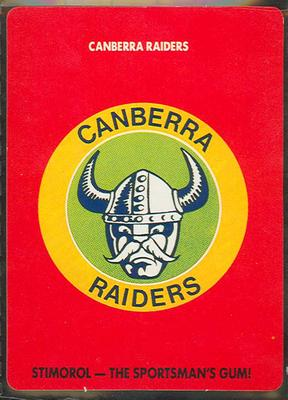 1989 Stimorol Rugby League Canberra Raiders trade card