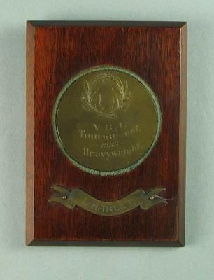 Plaque won by Les Harley, V R I Tournament 1933 Heavyweight; Trophies and awards; 1990.2243.27