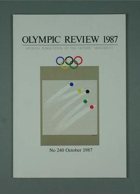Olympic Review No 240, October 1987; Documents and books; 1988.1967.25
