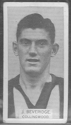 1933 W D & H O Wills Footballers John Beveridge trade card