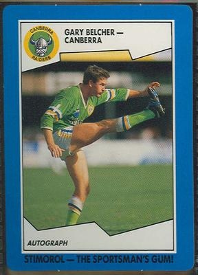 1989 Stimorol Rugby League Gary Belcher trade card