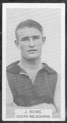 1933 W D & H O Wills Footballers John Bowe trade card; Documents and books; 1986.6.158