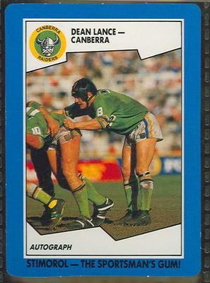 1989 Stimorol Rugby League Dean Lance trade card