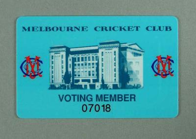 Melbourne Cricket Club membership card no. 07018 - Albert E. McKay