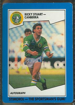 1989 Stimorol Rugby League Ricky Stuart trade card; Documents and books; 1989.2131.37