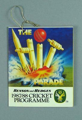 Programme, 1987/88 Australian cricket season