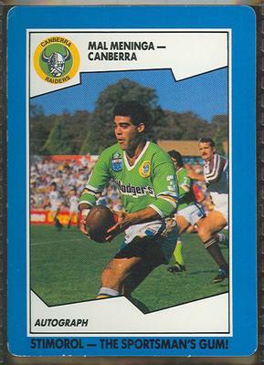 1989 Stimorol Rugby League Mal Meninga trade card