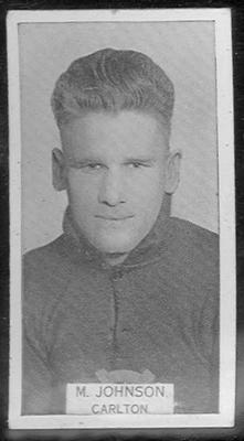 1933 W D & H O Wills Footballers Maurie Johnson trade card