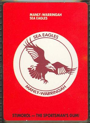1989 Stimorol Rugby League Manly-Warringah Sea Eagles trade card; Documents and books; 1989.2131.41