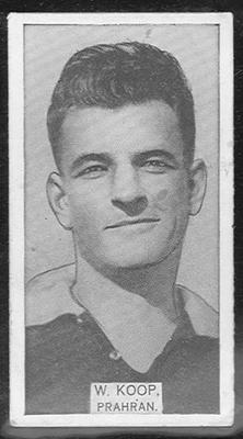 1933 W D & H O Wills Footballers William Koop trade card; Documents and books; 1986.6.229