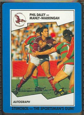 1989 Stimorol Rugby League Phil Daley trade card; Documents and books; 1989.2131.44
