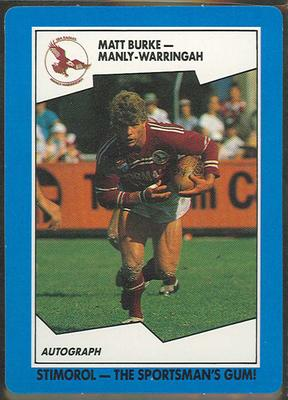 1989 Stimorol Rugby League Matt Burke trade card; Documents and books; 1989.2131.45