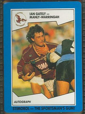 1989 Stimorol Rugby League Ian Gately trade card; Documents and books; 1989.2131.46