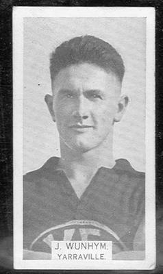 1933 W D & H O Wills Footballers Jack Wunhym trade card; Documents and books; 1986.6.265