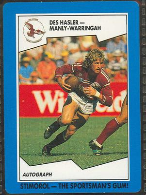 1989 Stimorol Rugby League Des Hasler trade card; Documents and books; 1989.2131.47