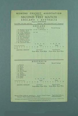 Scorecard for Australia v England Second Test Match, 1951