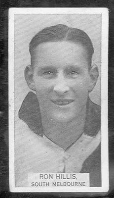 1933 W D & H O Wills Footballers Ron Hillis trade card; Documents and books; 1986.6.270
