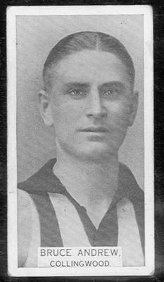 1933 W D & H O Wills Footballers Bruce Andrew trade card; Documents and books; 1986.6.275
