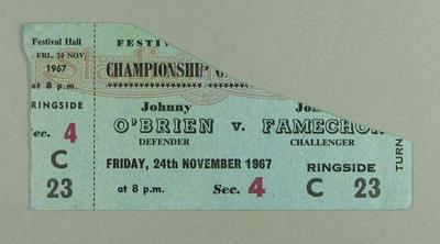 Ticket, Johnny O'Brien v Johnny Famechon boxing match - 24 Nov 1967