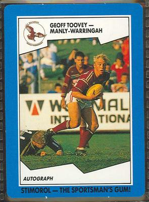 1989 Stimorol Rugby League Geoff Toovey trade card; Documents and books; 1989.2131.50