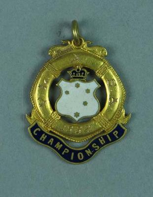 Gold medal for first place in the 220 yard swim at V.L.A.S.A. competition on 16th March 1927, won by Lily Beaurepaire