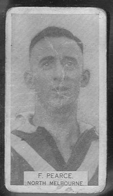 1933 W D & H O Wills Footballers Frank Pearce trade card; Documents and books; 1986.6.310