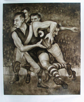 Painting of Jack Dyer in action, 1944 Preliminary Grand Final, by artist Victor Rubin; Artwork; 2006.4388.2